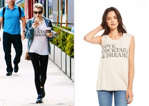 Emma Roberts in Chaser LA Love, Cocktails & Dreams Sleeveless Tunic