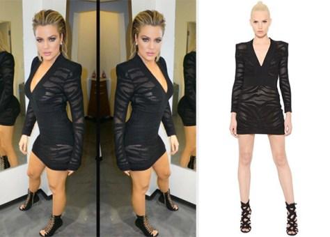 Balmain Tiger-Striped Mesh & Knit Dress as seen on Khloe Kardashian