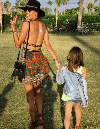 Valentino V-Neck Mini Dress w/ Banded Waist as seen on Alessandra Ambrosio Instagram at Coachella 2016