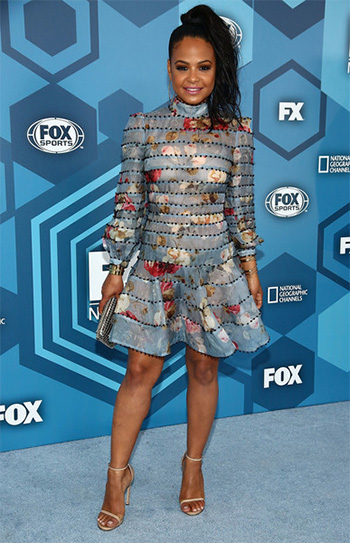Christina Milian in Zimmermann Havoc Bead Floral Dress at the 2016 FOX Upronts