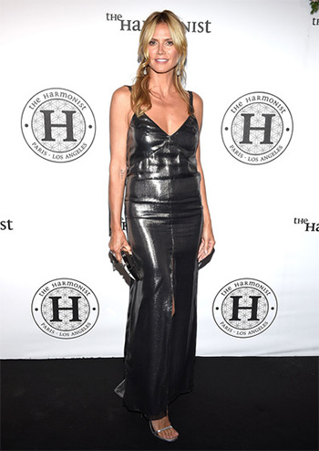 Saint Laurent Metallic Silk-blend Dress as seen on Heidi Klum at Cannes 2016