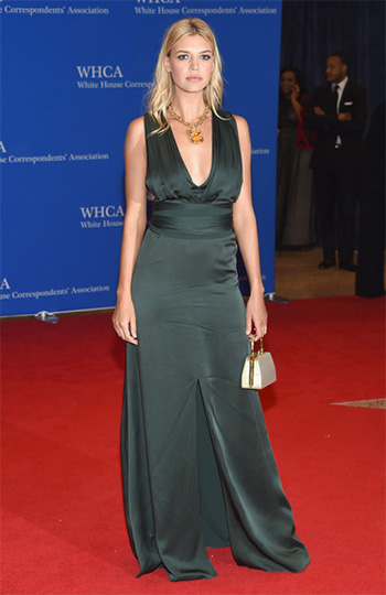 Victoria Beckham Draped Green Satin Gown as seen on Kelly Rohrbach at the 102nd White House Correspondents Dinner