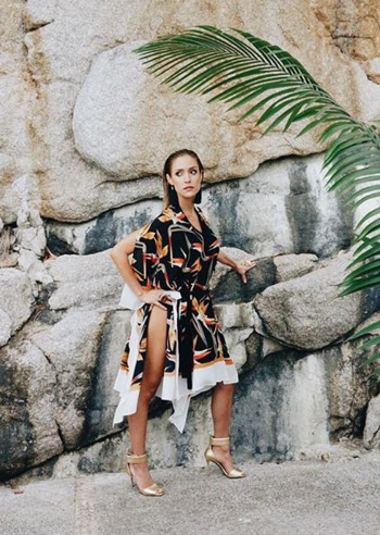 Fendi Bird of Paradise Printed Caftan Dress as seen on Kristin Cavallari Instagram