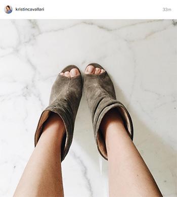 Kristin Cavallari Laurel Peep Toe Bootie in grey suede