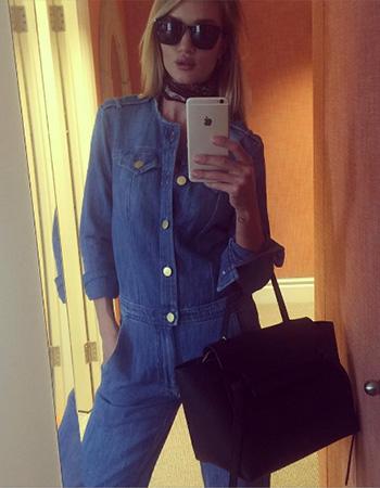 Isabel Marant Etoile Ojima Fluffy Jean Jumpsuit as seen on Rosie Huntington-Whiteley Instagram