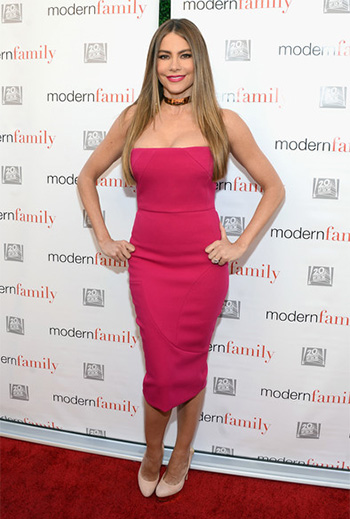 Victoria Beckham Pink Fitted Strapless Dress as seen on Sofia Vergara at ATAS Emmy Event