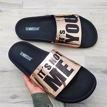 TheWhiteBrand Bronze It's You Slider Flat Sandals as see on Carly Bybel Instagram.