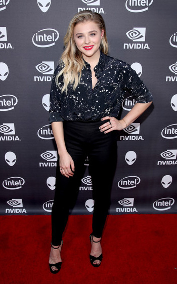 Chloe Grace Moretz wearing a Markus Lupfer Cleo Constellation Silk Shirt and Jimmy Choo Jada Sandals to an Alienware event in LA on June 13, 2016.