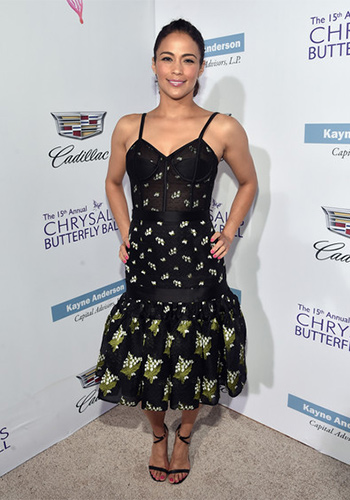 Paula Patton attends the 15th Annual Chrysalis Butterfly Ball in a Alexander McQueen Satin-trimmed bustier dress on June 11, 2016 in Brentwood, CA.