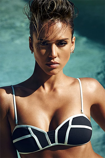Jessica Alba wears a L*Space Swimwear By Monica Wise Bombshell Two-Tone Bikini Top for Shape Magazine, June 2016.