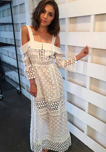 Olivia Culpo wears a Self Portrait Cold-Shoulder Medallion Maxi Dress on Instagram, July 2016.