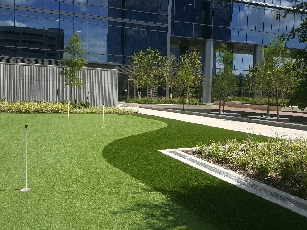 office building with putting green
