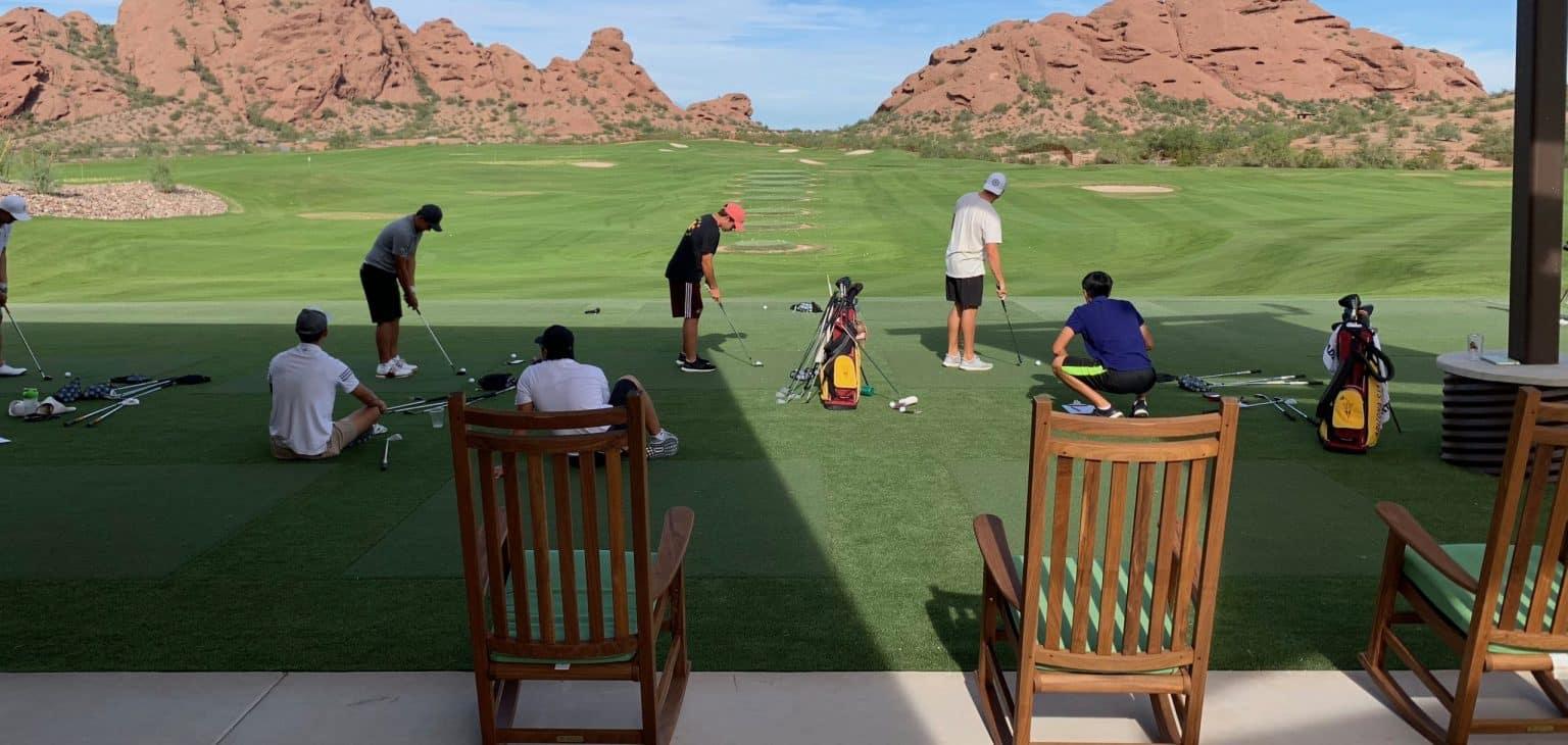 asu golf team practice on synthetic grass
