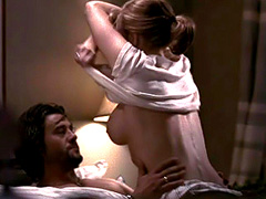 Lauren Holly topless riding a guy in bed