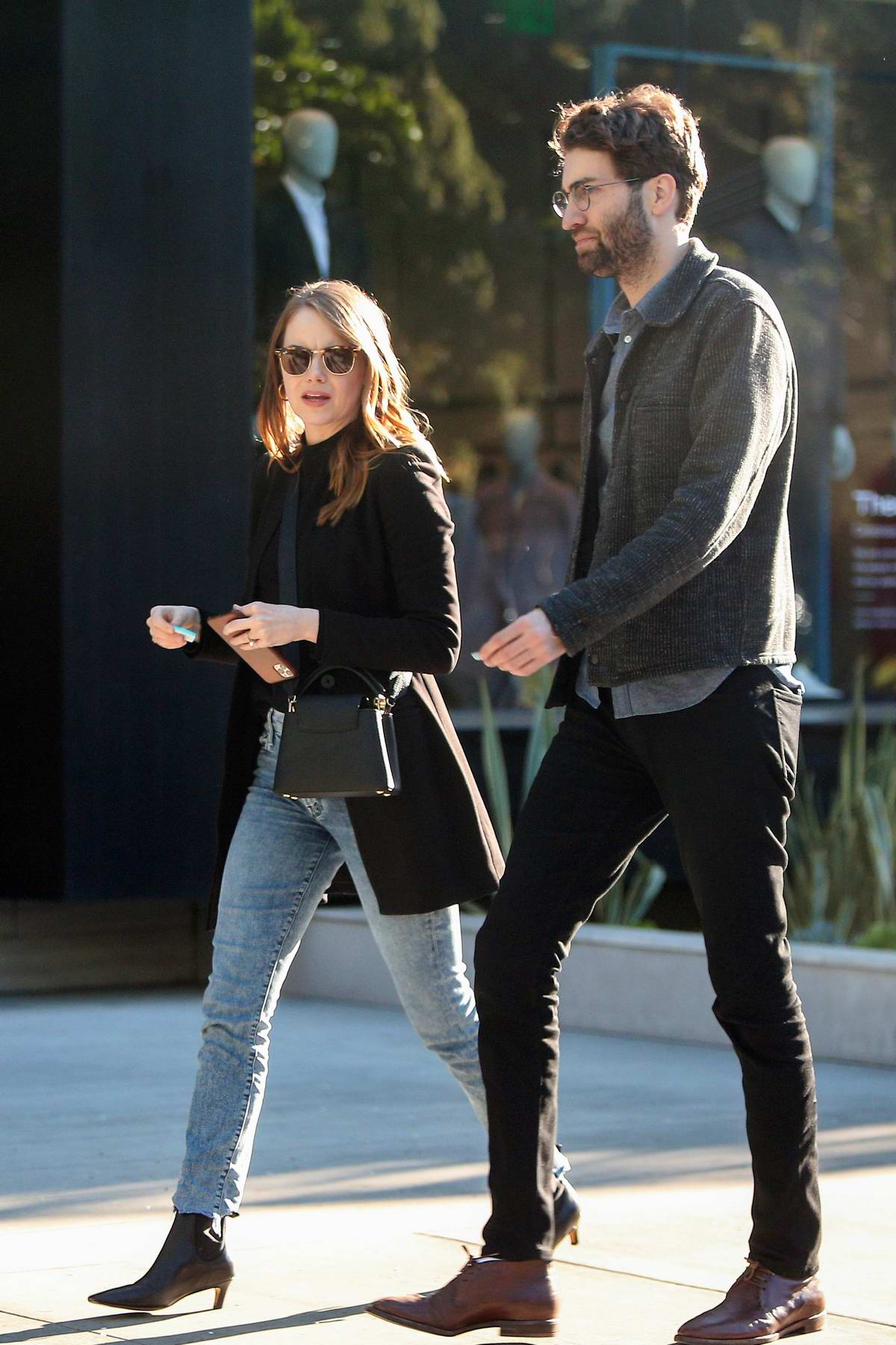 Emma Stone and Dave McCary seen leaving a restaurant in Los Angeles