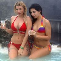 Olivia Buckland and Cara Delahoyde Stills in Bikinis at Blue Lagoon Spa in Iceland