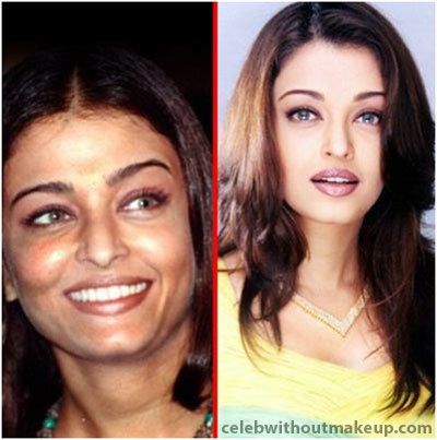 Aishwarya Rai before and after makeup