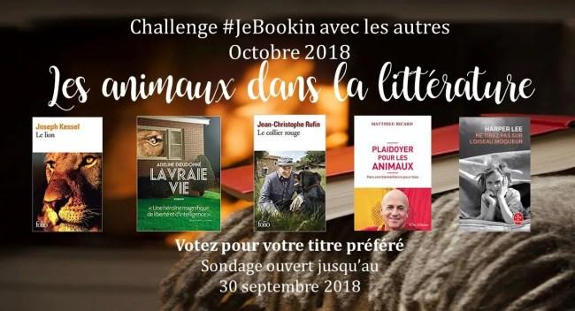 JeBookin avec les autres - Edition d'octobre 2018: les animaux dans la littérature