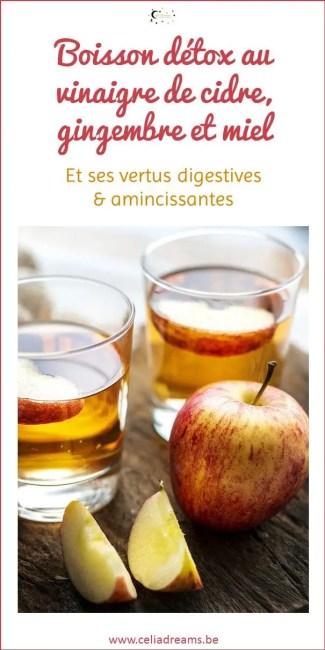 Recette de vinaigre de cidre avec gingembre, citron et miel: une boisson détox à prendre en cure.