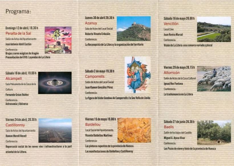 Tríptico (interior) del ciclo de conferencias 'Aproximación a la realidad comarcal' 2009