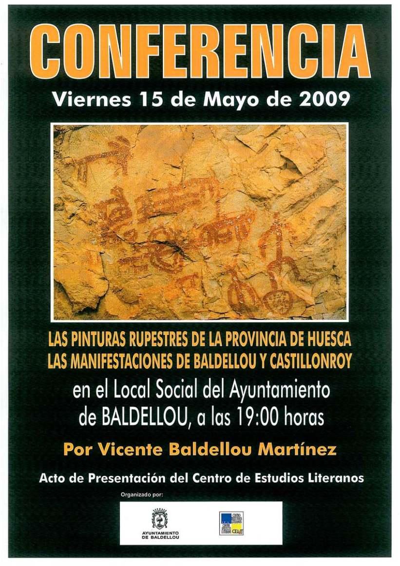 Cartel de la conferencia «Las pinturas rupestres de la provincia de Huesca. Las manifestaciones de Baldellou y Castillonroy»