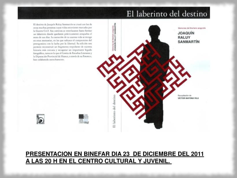 Cartel de la presentación del libro 'El laberinto del destino' en Binéfar