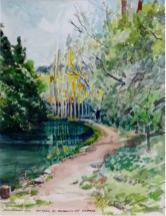 Barranco de Gabasa (acuarela de Fernando Alvira)