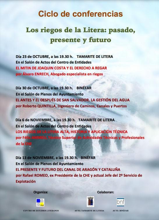 Cartel del ciclo de conferencias 'Los riegos de la Litera: pasado' presente y futuro'
