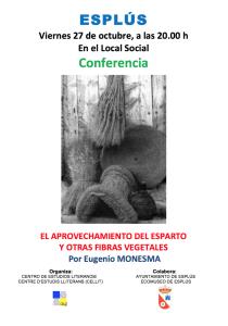 Cartel de la conferencia «El aprovechamiento del esparto y otras fibras vegetales»