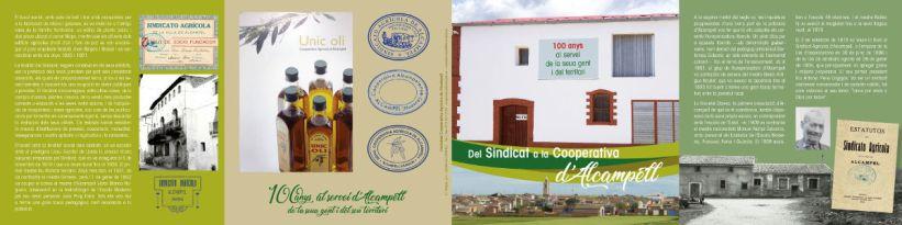 Folleto (exterior) de la exposición 'Del Sindicat a la Cooperativa d'Alcampell'