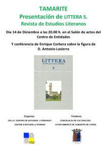 Cartel de la presentación de LITTERA 5 en Tamarite de Litera