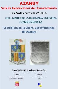 Cartel de la conferencia «La nobleza en la Litera. Los Infanzones de Azanuy»