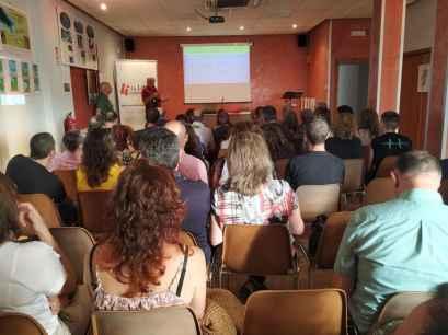 Un momento de la conferencia «El parque geológico y minero de la Litera y la Ribagorza» (foto Imma Gracia / La Litera información)
