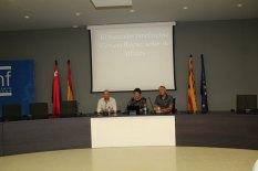 Mesa de la conferencia «El mercader binefarense Cervera Roche» (foto Imma Gracia / La Litera información)