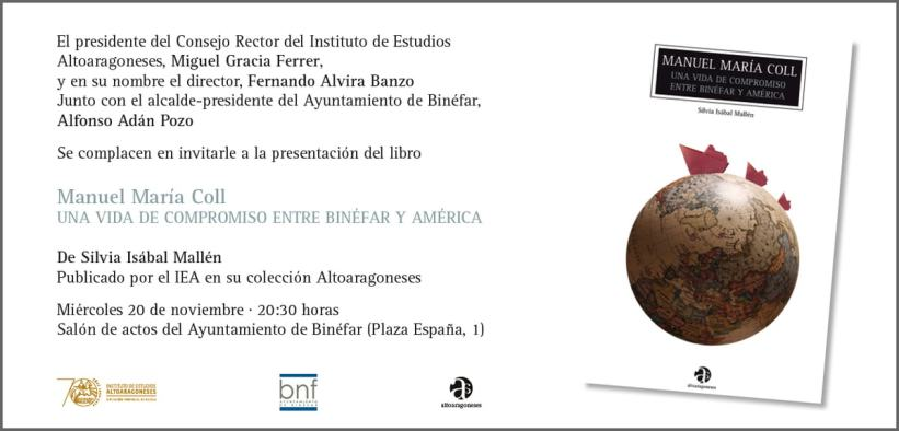 Invitacion a la presentación en Binéfar del libro sobre Manuel María Coll