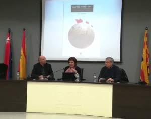 Mesa de la presentación en Binéfar del libro sobre Manuel María Coll (foto Joan Rovira)