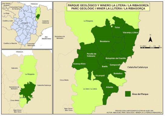 Mapa Parque geológico y minero