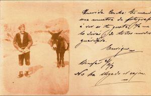 Binéfar, ca. 1903: campesino con traje popular y acémila (postal del autor, fondo CELLIT)