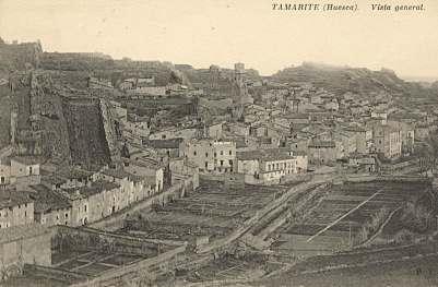Tamarite de Litera, hacia 1927: vista general (postal P.Y., fondo CELLIT) [anverso]