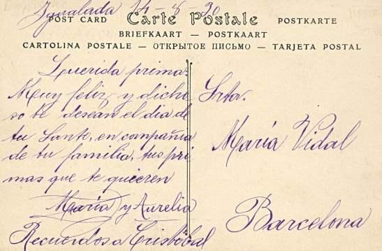 Tamarite de Litera, hacia 1927: vista general (postal P.Y., fondo CELLIT) [reverso]