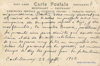 Tamarite de Litera, hacia 1927: vista parcial (postal P.Y., fondo CELLIT) [reverso]