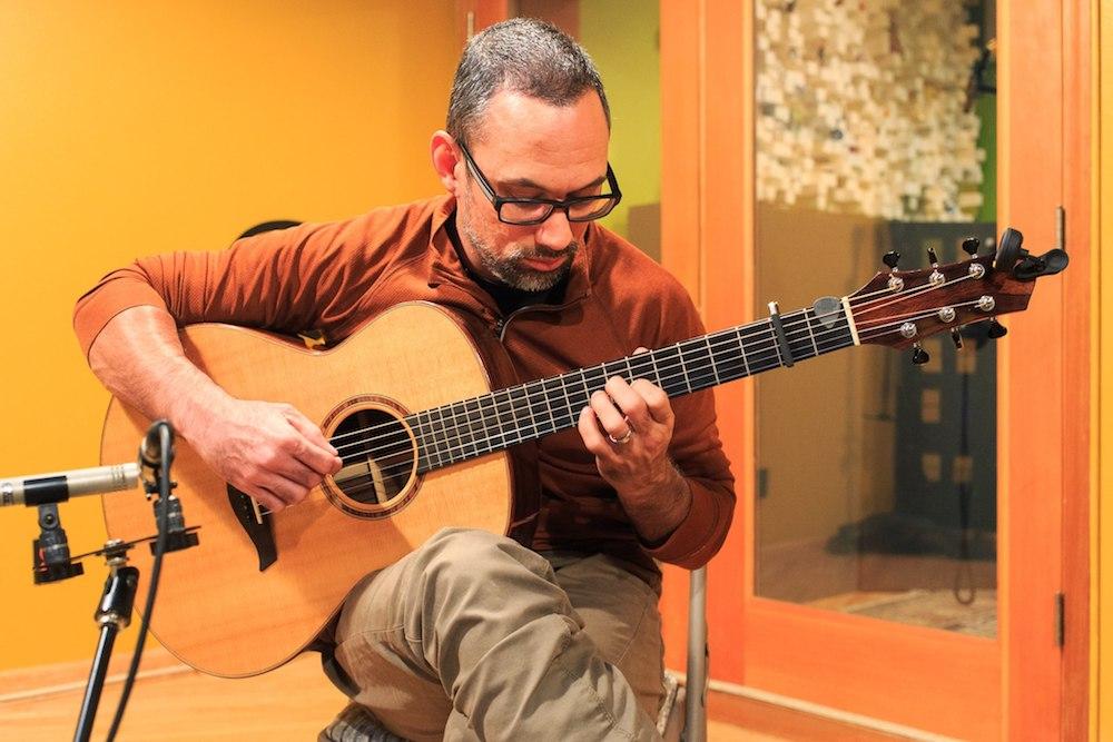 Anton recording in the studio