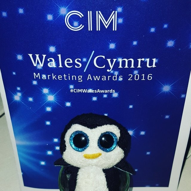 Eric Penguin ready to partaay at the CIM Wales Marketing Awards 2016