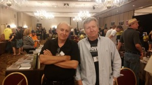 Thomas Monteleone and F. Paul Wilson share a moment at the 2015 Scares That Care convention. (Photo by Mark Sieber)