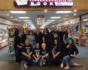 The authors with the staff of Bradley's Book Outlet. (Copyright 2016 Vicki Haid)