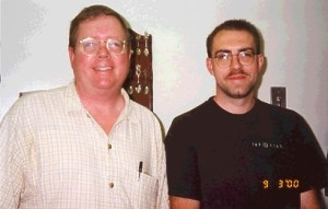 Richard Laymon and Brian Keene in 2000. (Photo by Ann Laymon)