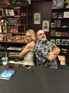 Kasey Lansdale and Brian inside Dark Delicacies. (Photo Copyright 2016 Brian Keene)