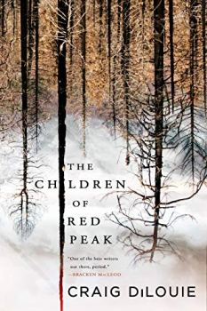 cover of The Children of Red Peak by Craig DiLouie, showing an upside-down photo of trees against a cloudy sky