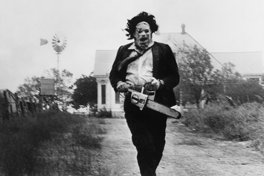 black and white photo of Leatherface from the Texas Chain Saw Massacre