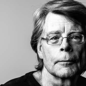 black and white photo of author Stephen King